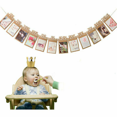 AU13.59 • Buy AU Baby 1st Birthday Recording Banner 1-12 Month Boy Girl Party Photo Bunting #T