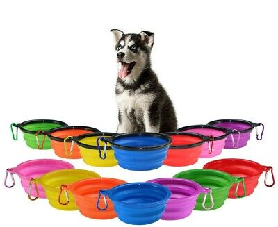 Collapsible Dog Bowl Folding Travel Pet Food Feeder Water Portable Dish Foldable • 3.19£