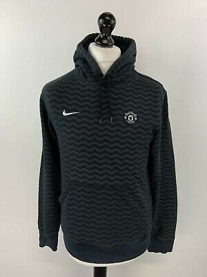 NIKE MANCHESTER UNITED Mens Hoodie Jumper S Small Black Grey Cotton Polyester • 12.49£