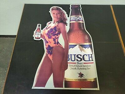 $ CDN158.96 • Buy Vintage Tin Metal Busch Beer Sign Bar Attractive Woman Holding A Bottle Of Beer
