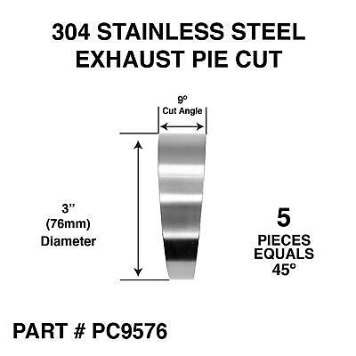 3  76mm Pie Cut 45 Degree 304 Stainless Steel Exhaust Elbow Bend • 20.95£