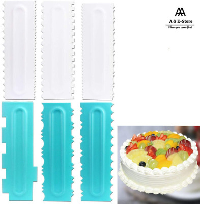 £5.69 • Buy Cake Edge Icing Scrapers Cutters Smoother Tool Bakeware Comb Baking Decorating