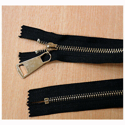 Closed End Job Lot Black Gold Metal Zips 14 Inches 35 Cms Various Qty Packs Z1 • 2.49£