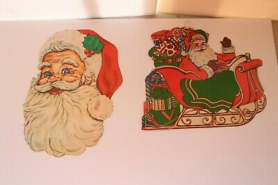 $ CDN25.16 • Buy 2 Vintage Christmas Decorations Santa Cut Out Paper Thick