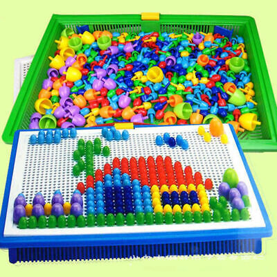 AU16.99 • Buy 296pcs Kids Creative Children Puzzle Pegs Board Educational Learning Toys Gift