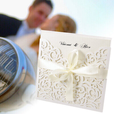Wedding Invitation Card Lace Cut Day Evening Place Cards Envelopes Sheets 20PCS • 19.99£