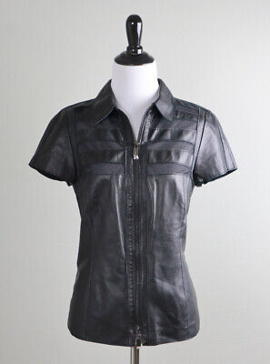 $ CDN75.63 • Buy W BY WORTH $498 Genuine Leather Sheer Mesh Panel Zip Up Jacket Top Size 8