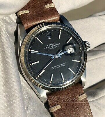 $ CDN5300.40 • Buy Rolex Vintage Datejust 1601 Matte Black Dial On Strap - 1969