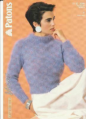 Knitting Pattern - Patons 3385- Lady's/Teen Mohair Raglan Sleeve Sweater 30-40  • 2.60£