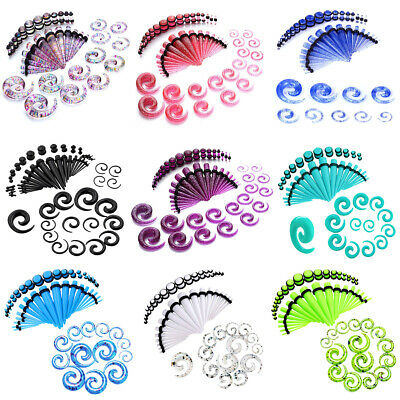 $9.69 • Buy 54pcs Gauges Kit Glitter Spiral Tapers Plugs Stretching Set 14G-00G 8 Colors