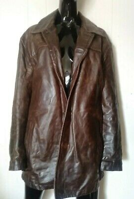 $24.99 • Buy Men's J.Crew Distressed Brown Leather Coat Size Large