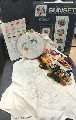 Sunset 11096 Fruit & Flower Bell Pull Embroidery Kit With Silks Yarns & Hoop (C9 • 24.99£