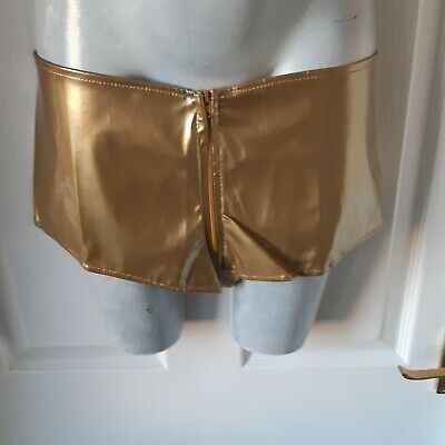 N149 Sexy Gold Pvc Shorts With Double Zip Size12  • 5£