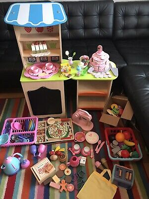Wooden Play Toy Kitchen Shop Pizza Wedding Cake Tea Biscuits Set Lot Food Bundle • 80£