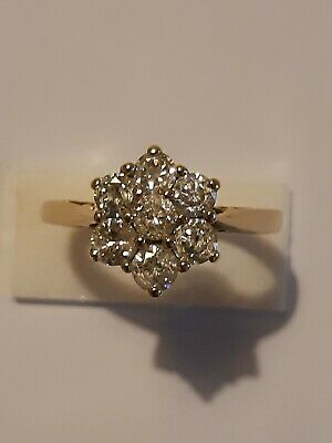 £995 • Buy Vintage Diamond 1.00ct Cluster/daisy Ring In 18ct. April Birth Stone.