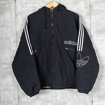 $ CDN57.21 • Buy Vintage Adidas Hooded Jacket Size Extra Large Black Stripes Big Logo 90s