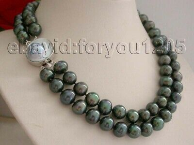 $129.99 • Buy 18-19  Double Natural 12mm Black Round Pearl Necklace Mabe Pearl Clasp #f1509!