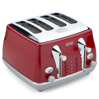 AU148 • Buy NEW DeLonghi Icona Capitals 4 Slice Toaster CTOC4003 T. Red