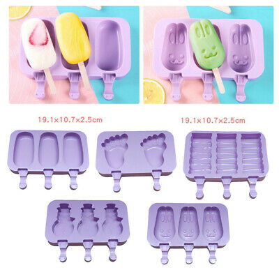 Mould Frozen Molds Icy Pole Jelly Block Maker Ice Cream Popsicle W/50*Sticks • 7.13£