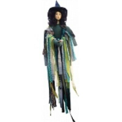 Witches Of Pendle *crystal  Green Flying Witch 65 Cms Info Book Pagan/ Occult • 32.50£