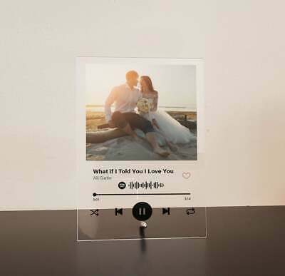 AU42.99 • Buy Photo Music Plaque Spotify Song Clear Frost Black Acrylic Perspex A5 A4 A3 Gift