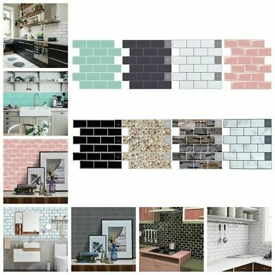 3D Kitchen Tile Stickers Bathroom Self-adhesive Mosaic Wall Cover Decal Sticker • 7.49£