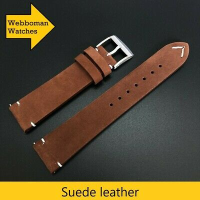 AU19.95 • Buy Vintage Look Suede Leather Watch Strap 20mm Quality Genuine Leather Band