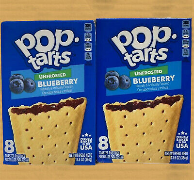 Pop Tarts Unfrosted Blueberry 8 Pack From Kelloggs USA (3.5oz) X 2 Boxes • 11.99£