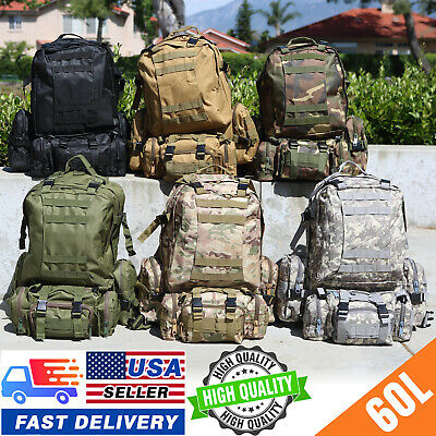 $27.99 • Buy 60L Outdoor Military Molle Tactical Backpack Rucksack Camping Bag Travel Hiking