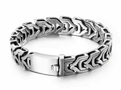 Mens Designer Bracelet For Men Biker Link Chain Silver 316l Ssteel Luxury Uk Ltd • 26.77£