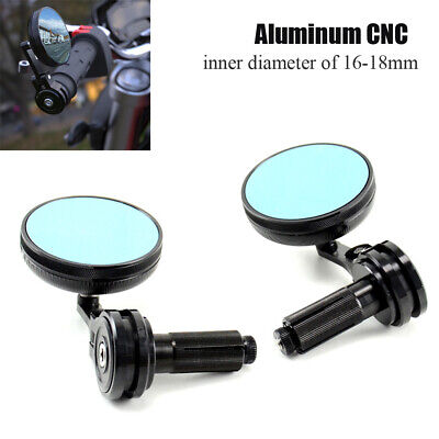 $45.23 • Buy 1 Pair 16-18mm Motorcycle CNC Handle Bar End Side Retro Round Rearview Mirrors