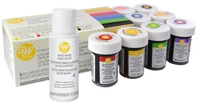 Wilton Icing Colour Concentrated Paste/Gel Icing Colour 8 Set And White White • 13.24£