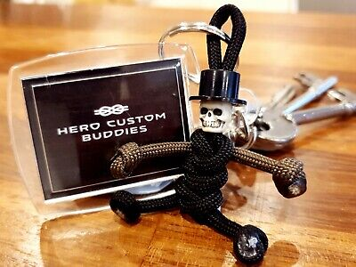 Skeleton Skull With Top Hat Paracord Keyring  HAND MADE IN UK • 5.95£