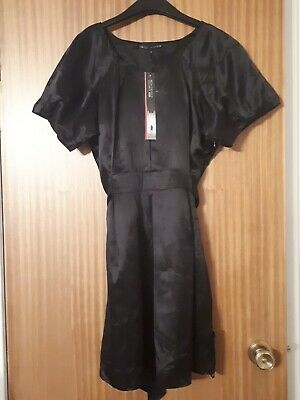 M & S Limited Collection Black Silk Satin Dress Puffed Sleeves Size 16 NEW • 14.99£