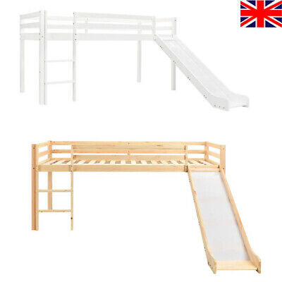 Children's Loft Bed Frame With Slide & Ladder Wooden Single Bed Sleeper 97x208cm • 450.02£