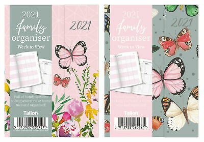 2021 Week To View A6 My Family Organiser Diary Butterfly Hardback Memo Planner • 3.29£