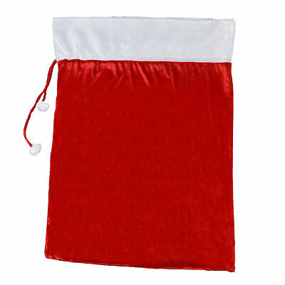 Deluxe Red Velour Giant Sack With White Trim And Pom Pom Ties • 9.29£