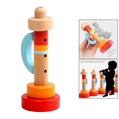 Wooden Musical Trumpet 3 Hole Horn Wind Instrument For Kids Music Art Toys • 4.35£