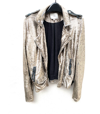 $ CDN213.41 • Buy Iro Paris Silver Sequined Biker Jacket  Size 2 / US 6 / Small - New Year's Eve