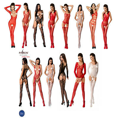 Valentine Women Sexy Lingerie Open Bust Cupless Crotchless Body Stocking Catsuit • 12.99£