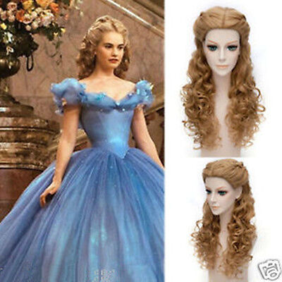 Movie Princess Cinderella Wig Long Curly Brown Anime Cosplay Wig With Braid • 17.32£