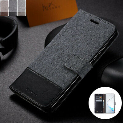 AU80 • Buy For OPPO A57 A83 R17 Realme 3 Pro Canvas Leather Flip Magnetic BACK Case Cover