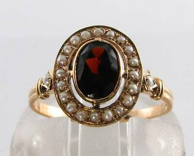 £289 • Buy Class 9ct 9k Gold African Garnet & Seed Pearl Art Deco Ins Ring Free Resize