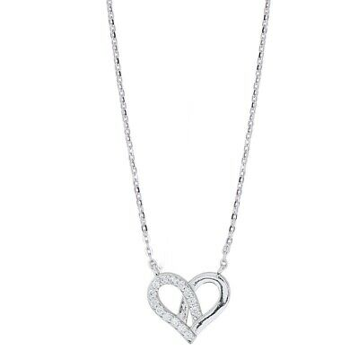£3.99 • Buy Love Heart Crystal Gemstone Necklace 925 Sterling Silver Womens Jewellery