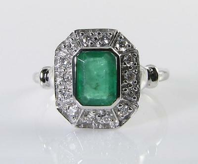 LARGE 9k 9CT WHITE GOLD 1.20 Ctw COLOMBIAN EMERALD DIAMOND ART DECO INS RING  • 659£