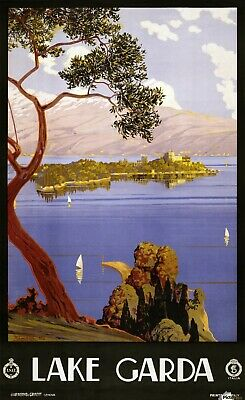 VINTAGE LAKE GARDA ITALY TRAVEL 1920 Print Poster Wall Art Picture A4 + • 4.99£