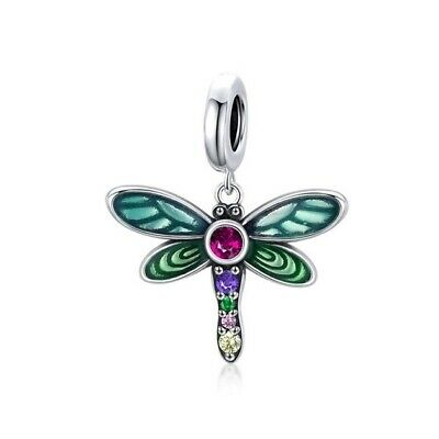 AU25.99 • Buy SOLID Sterling Silver Vibrant Garden Dragonfly Charm Pendant By YOUnique Designs
