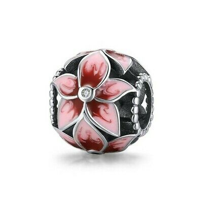 AU24.99 • Buy SOLID Sterling Silver Floral Pink Lily Orchid Flower Charm By Pandora's Wish