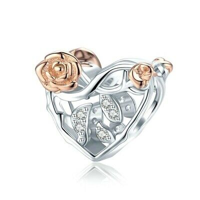 AU26.99 • Buy SOLID Sterling Silver Rose Gold Infinity Vine Heart CZ Charm By Pandora's Wish