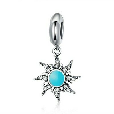 AU25.99 • Buy SOLID Sterling Silver Hanging Turquoise Celestial Sun Charm By Pandora's Wish